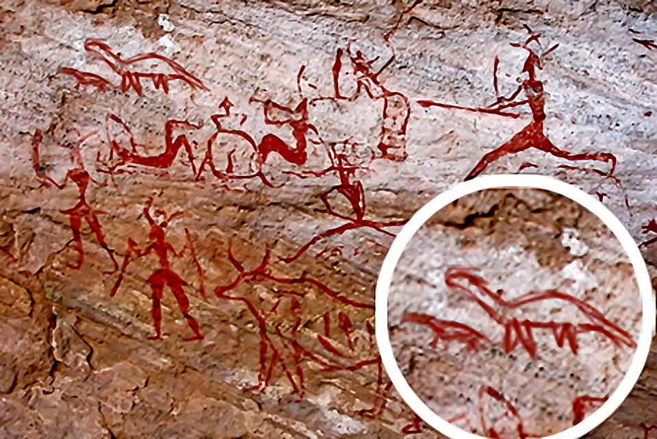 Наскальные рисунки человек и динозавры