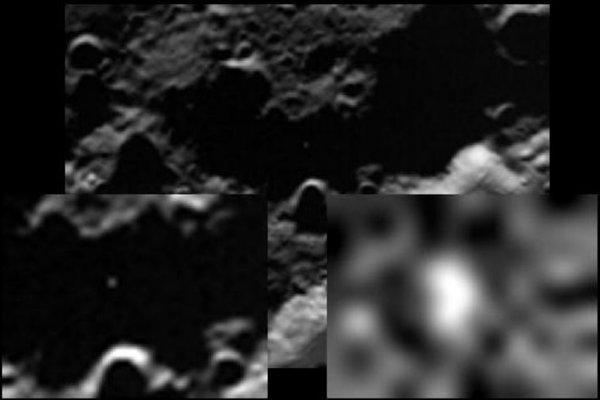 Вспышка от столкновения. Фотография была сделана аппаратом LCROSS. Credit: NASA.