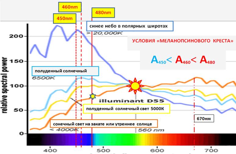 Рис.2. Спектр солнечного света в зависимости от времени суток.