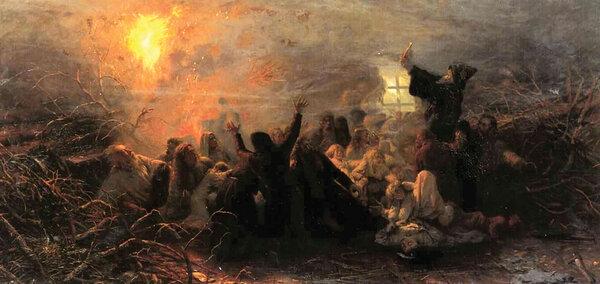 С конца XVII и до XIX века десятки тысяч старообрядцев массово предавали себя смерти, организуя самосожжения. Григорий Мясоедов «Самосжигатели» (1882, 1884)