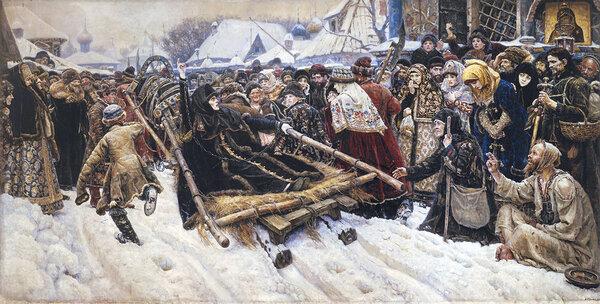 Сподвижница протопопа Аввакума Феодосия Морозова (1632–1675) за приверженность к «старой вере» была лишена имения и заточена в монастырскую тюрьму. Василий Суриков «Боярыня Морозова» (1884-1887)