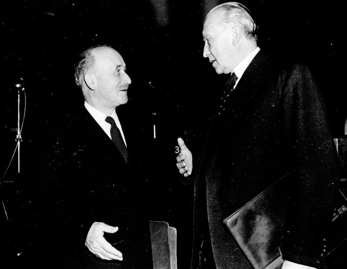 Жан Монне (слева) и Конрад Аденауэр
